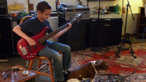 oakland bass lessons with cute doggie